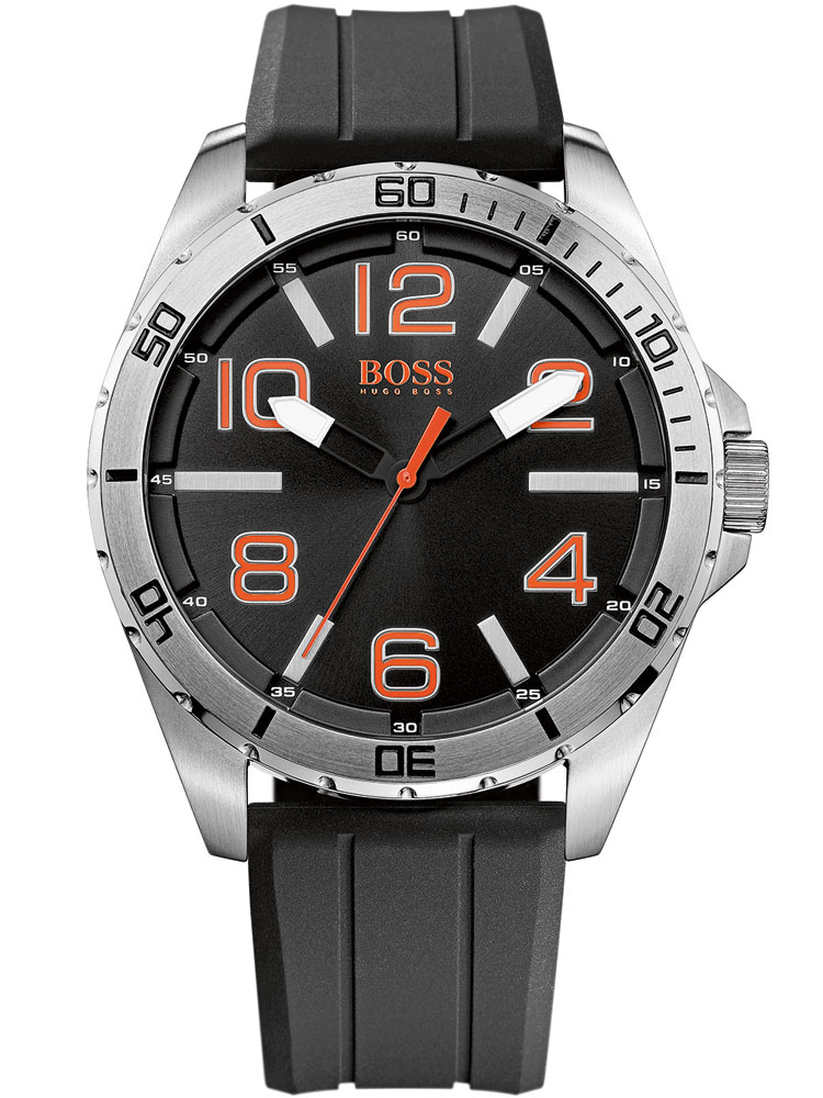 Image of BOSS ORANGE 1512943 Herren schwarz silber orange 48 mm