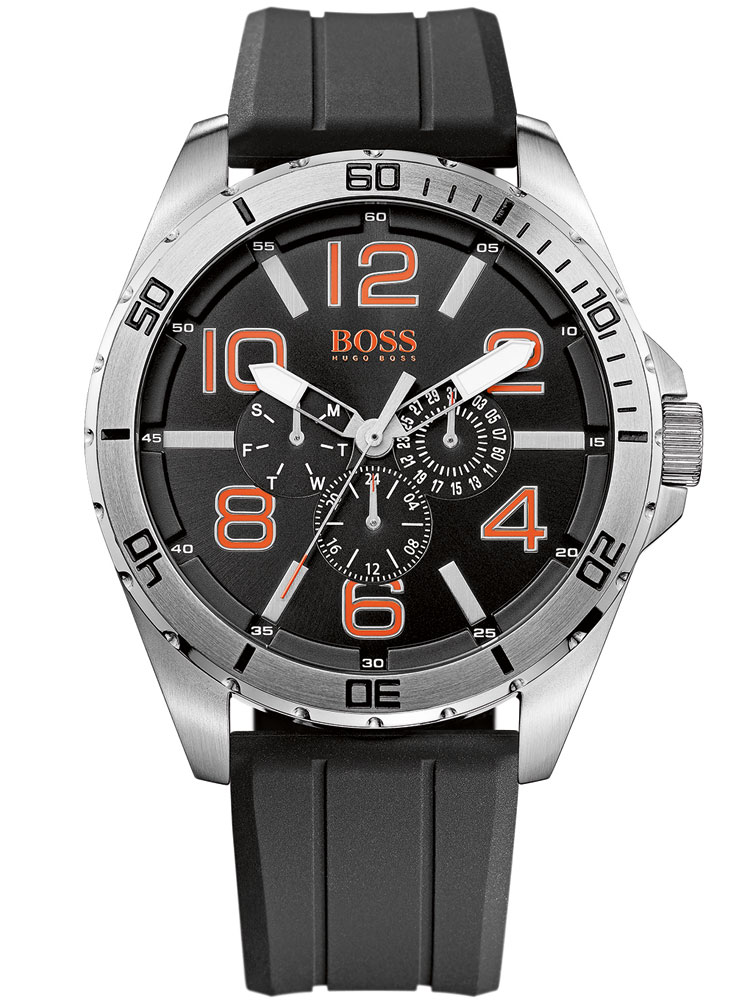 Image of BOSS ORANGE 1512945 Herren Multif. schwarz silber orange 48 mm