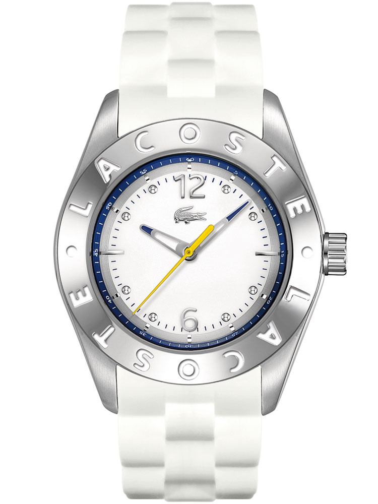 Lacoste Biarritz Lady 2000751 ZB weiss, weisses Silikon 3ATM 38 mm