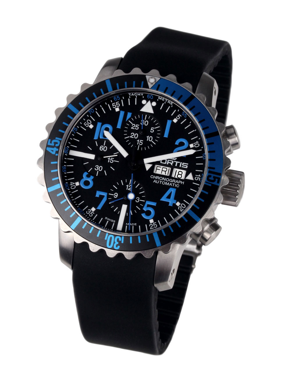 Image of Fortis 671.15.45 K B-42 Marinemaster Blue Chronograph 42mm 20ATM