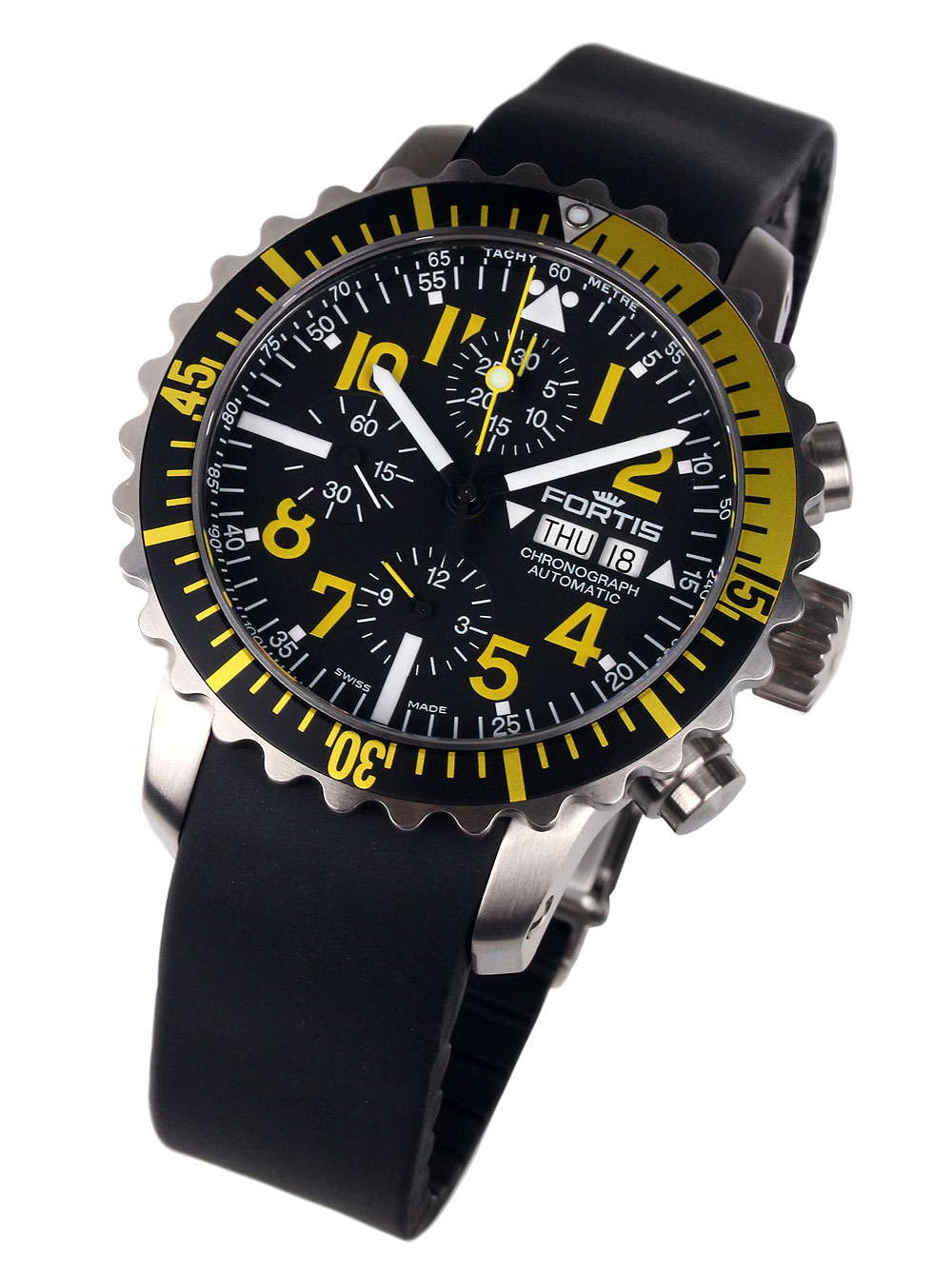 Image of Fortis 671.24.14 K B-42 Marinemaster Yellow Chronograph 42mm 20ATM