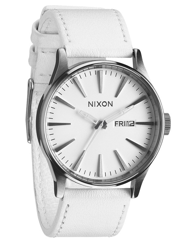 NIXON Sentry Leather A-105-391 Silver White Unisex 42 mm