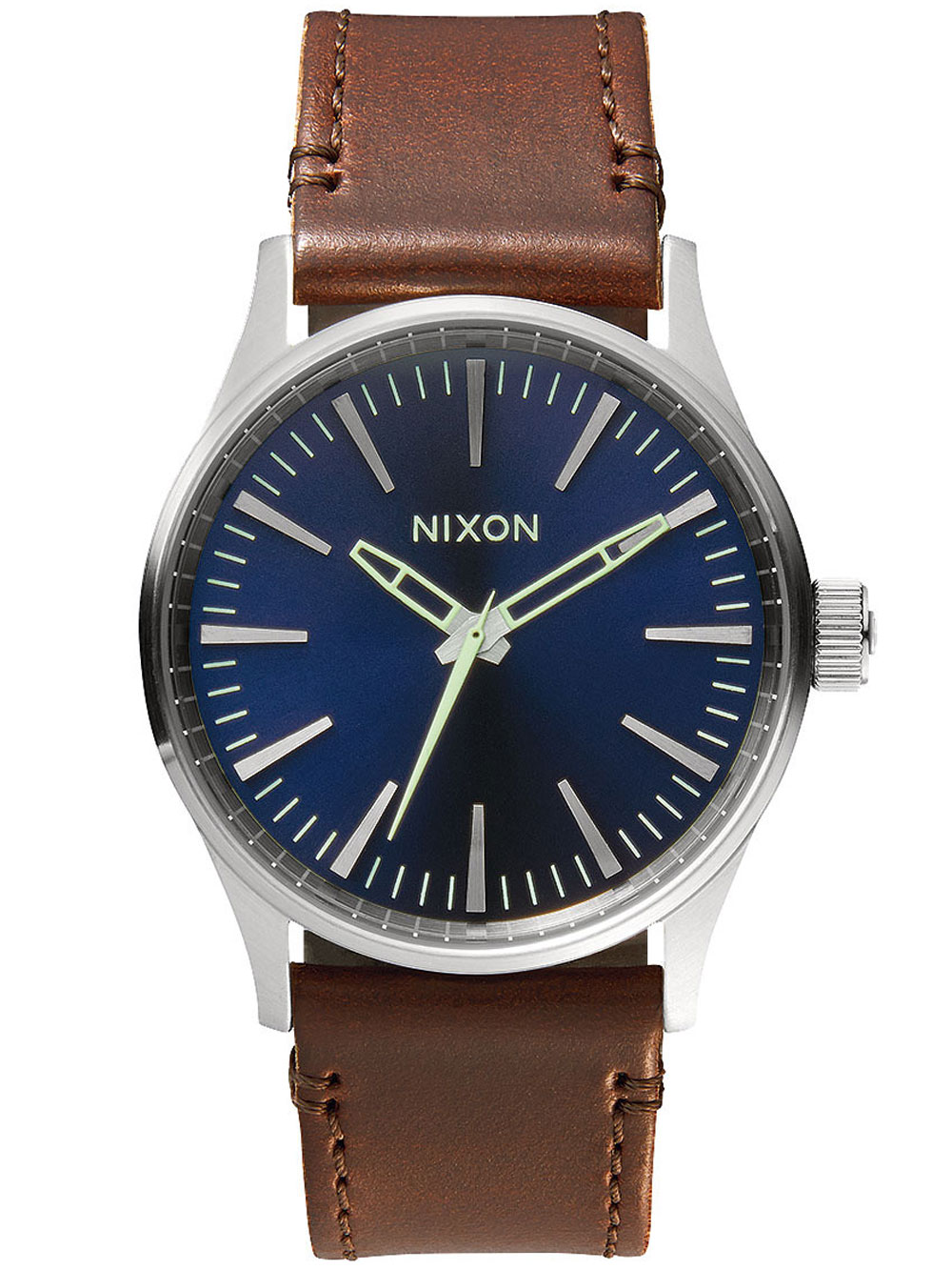 NIXON A377-1524 Sentry 38 Leather Blue Brown 38mm 10ATM