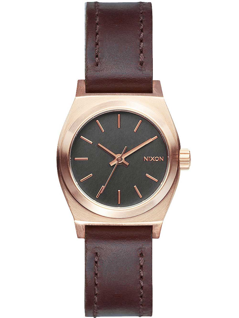 NIXON A509-2001 Small Time Teller Leather Rose Gold Gunmetal Brown 26mm 10ATM