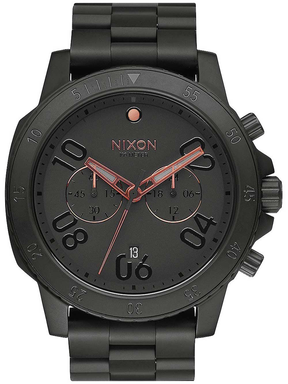 Nixon A549-957 Ranger Chrono All Black Rose Gold 44mm 10ATM