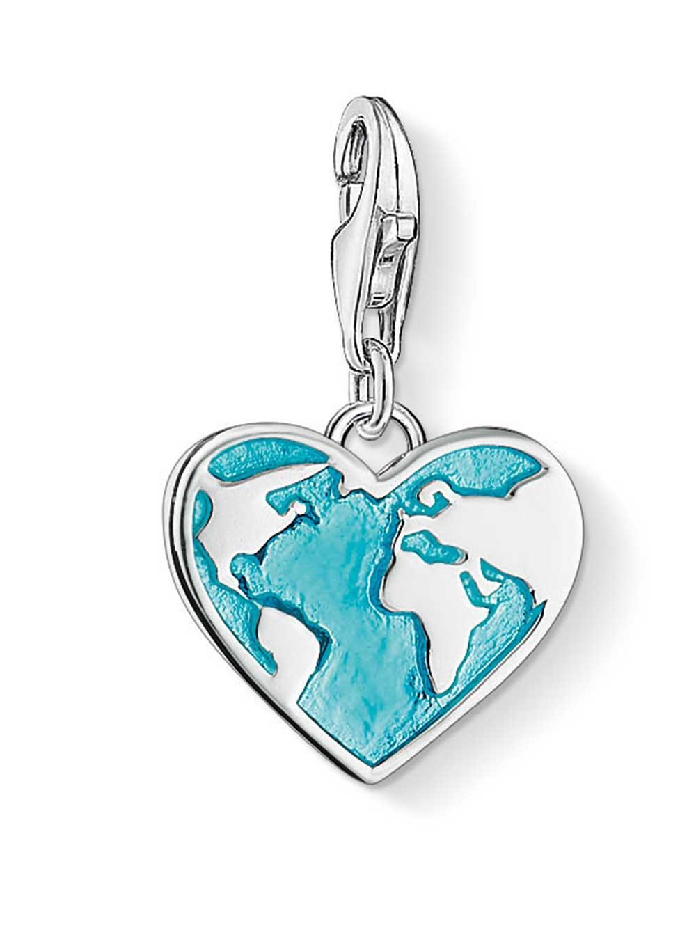 Thomas Sabo 1429-007-17 Charm Anhänger Herz Weltkarte