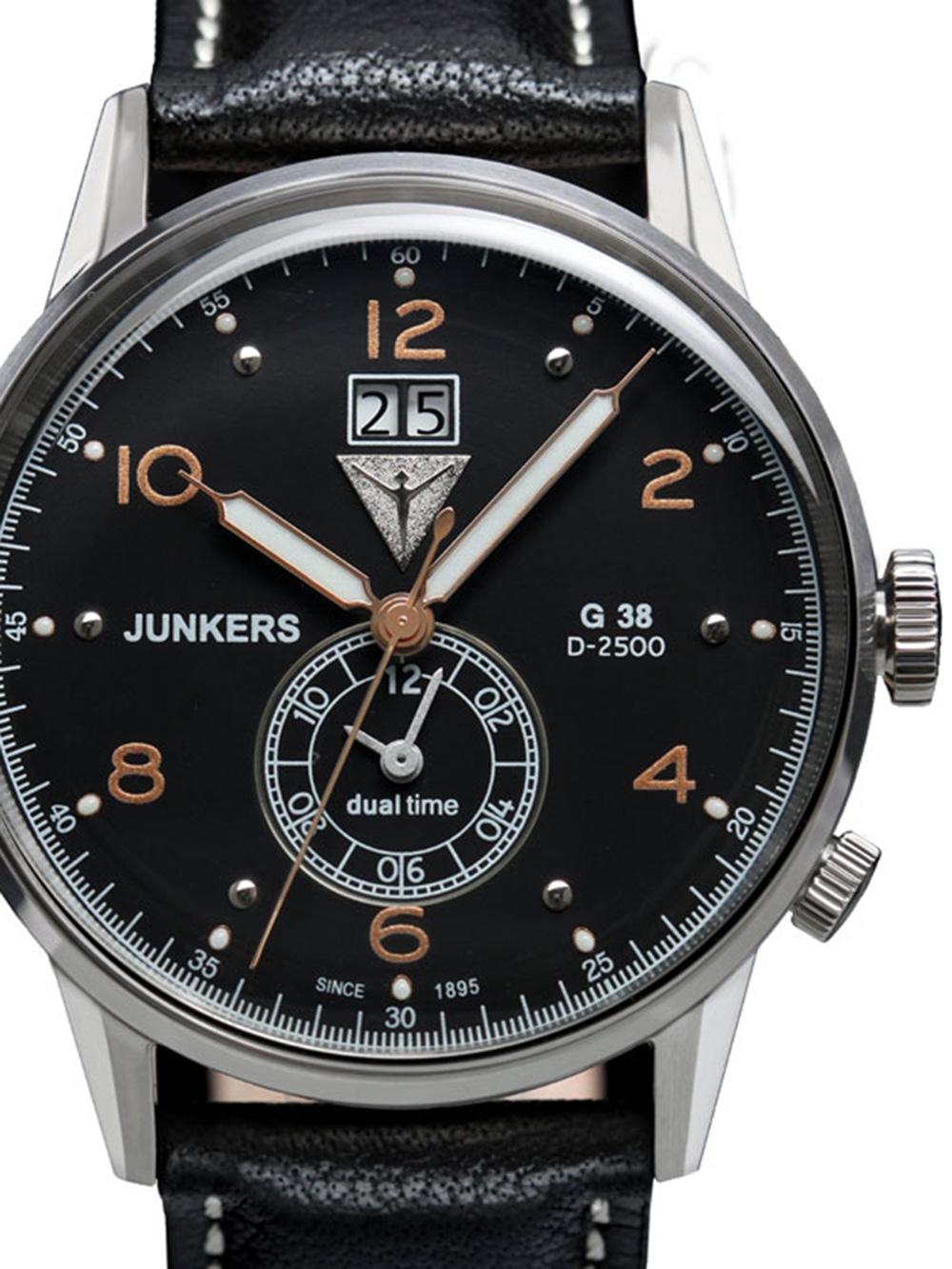 Junkers 6940 5 G38 Dual Time Herrenuhr silber, schwarz 10 ATM 42 mm