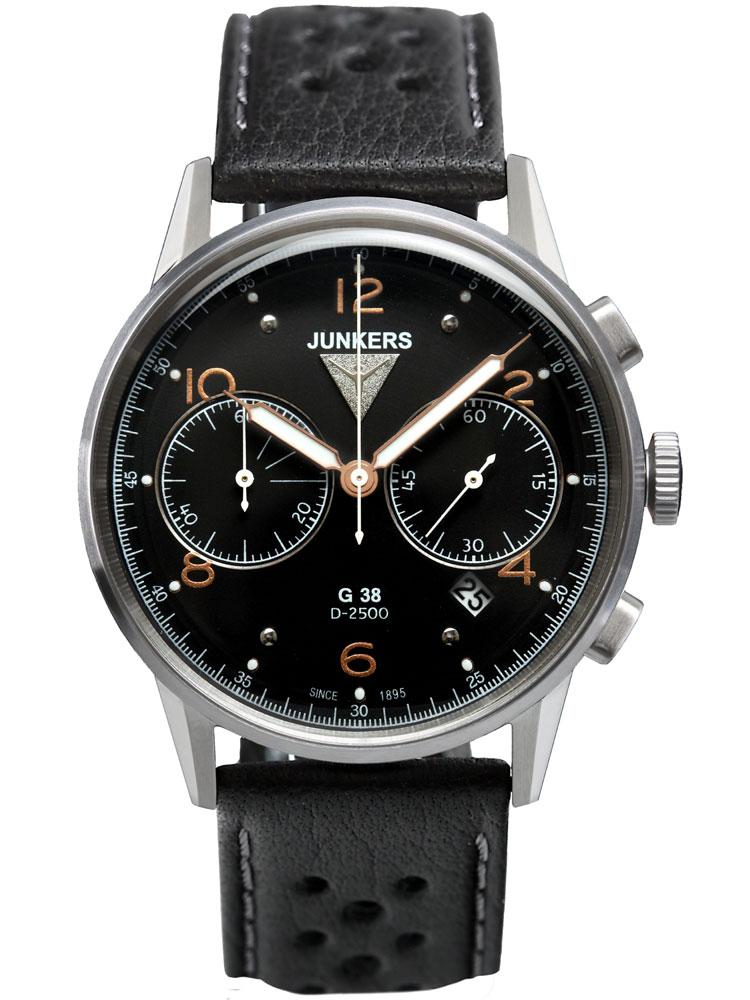 Junkers 6984 5 G38 Chronograph Herrenuhr silber, schwarz 10 ATM 42 mm