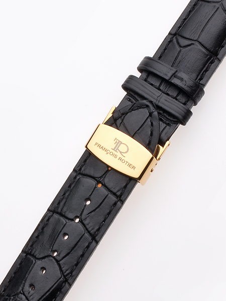 Uhrenarmband 24 mm schwarz goldene Faltschließe Preisvergleich