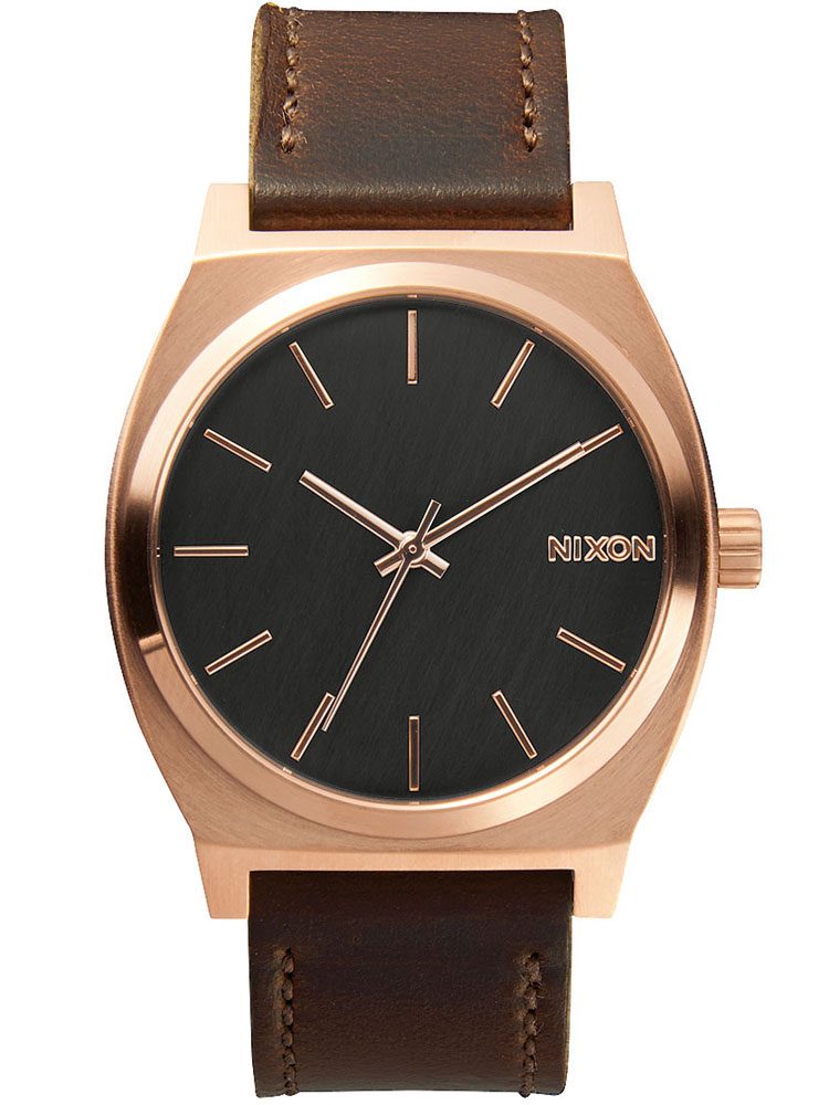 A045-2001 Time Teller Rose Gold Gunmetal Brown 37mm 10ATM