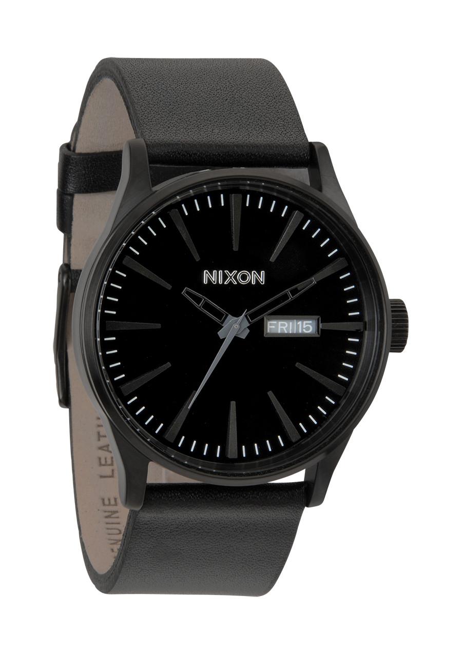 NIXON Sentry Leather A105 001 All Black Herrenuhr