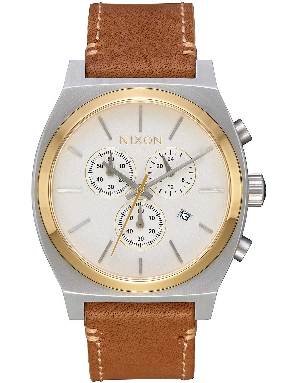 A1164-2548 Time-Teller Leather Chrono Gold Cream Tan 39mm 10ATM