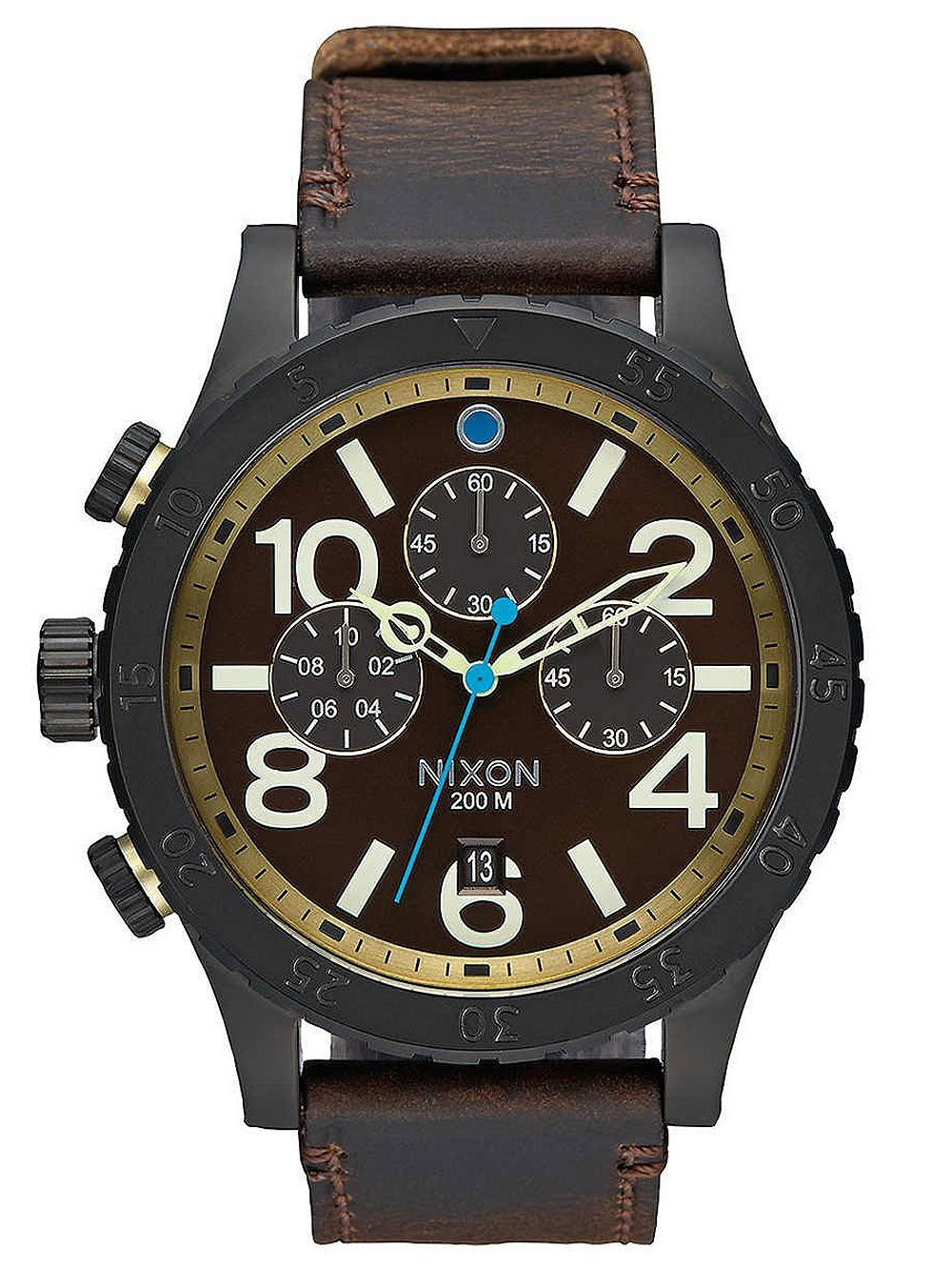 NIXON A363-2209 48-20 Chrono Leather All Black Brass Brown 48mm 20ATM