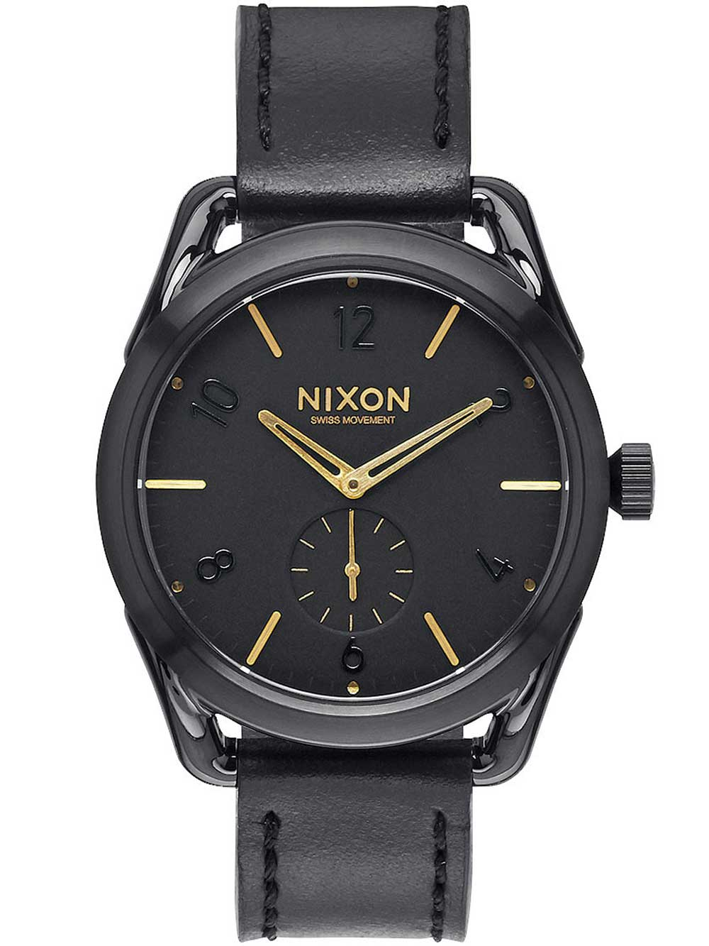 NIXON A459-010 C39 Leather Black Gold 39mm 10ATM