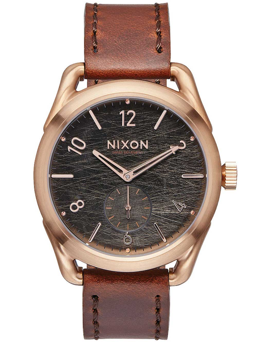 NIXON A459-1890 C39 Leather Rose Gold Brown 39mm 10ATM