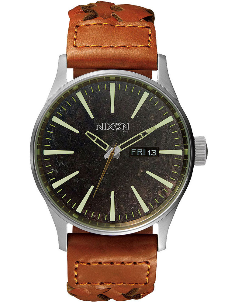 NIXON A105-1959 Sentry Leather Dark Copper Saddle Woven 42mm