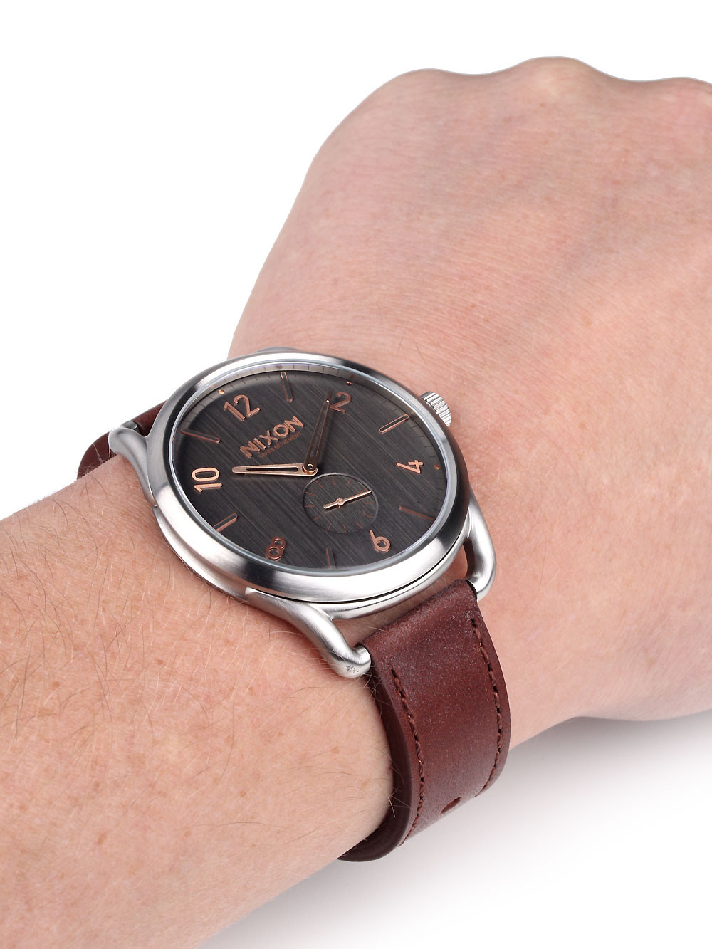 NIXON A465-2064 C45 Leather Gray Rose Gold 45mm 10ATM
