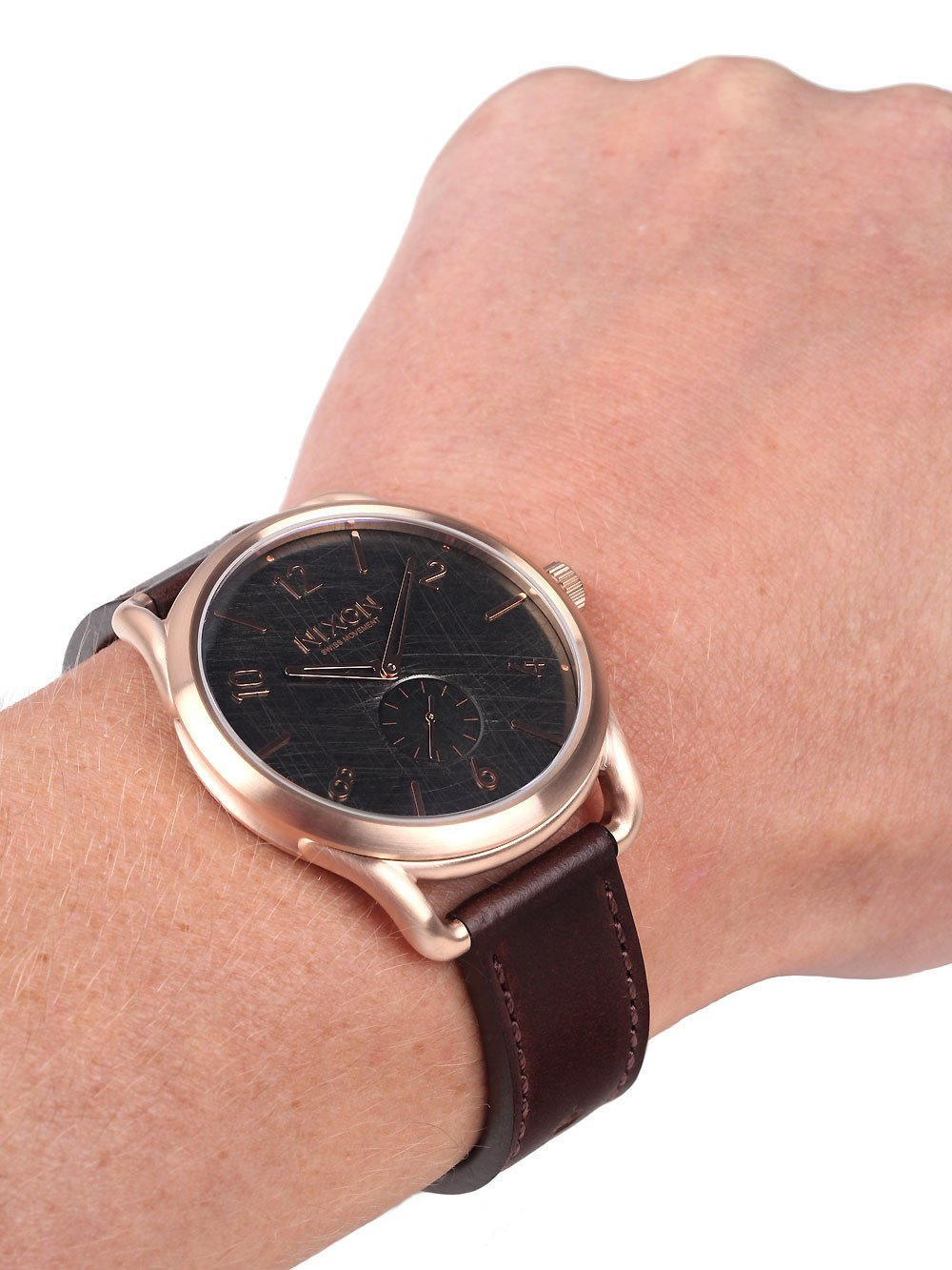 NIXON A465-1890 C45 Leather Rose Gold Brown 45mm 10ATM