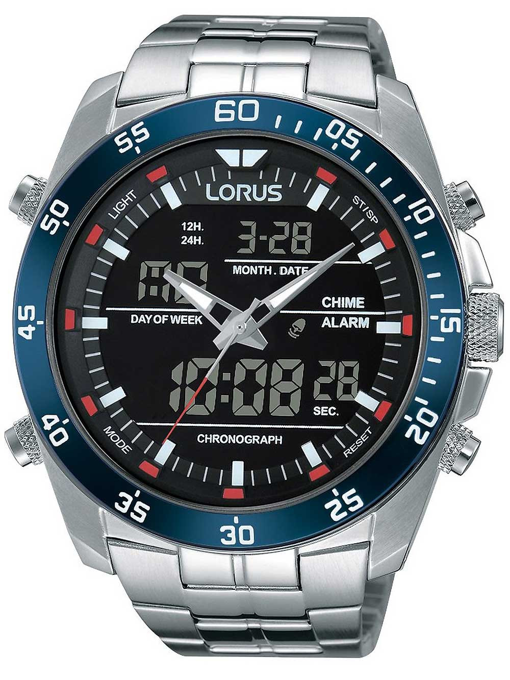 Lorus RW623AX9 Analog-Digital Alarm Chronograph 46mm 10ATM