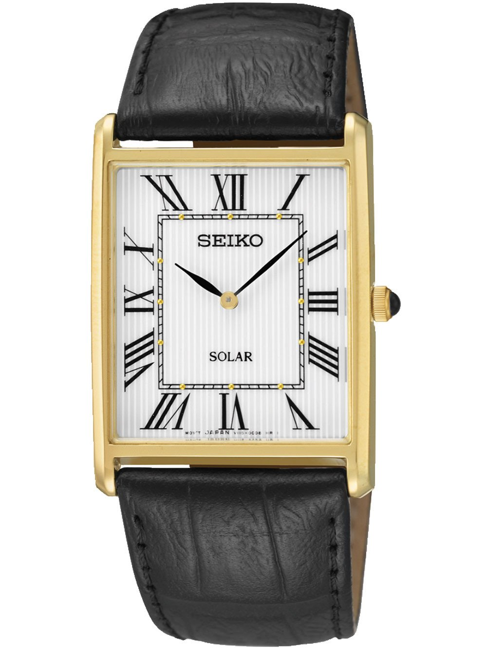 Seiko SUP880P1 Solar Herrenuhr eckig golden 28mm 30M