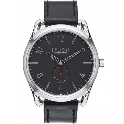 NIXON A465-008 C45 Leather Black Red 45mm 10ATM