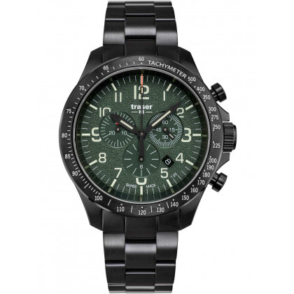 Traser H3 109464 P67 Officer Chronograph Green Steel 46mm 10ATM