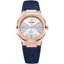 D1 Milano UTDL02 Ultra Thin Dark Denim Damen 34mm 5ATM
