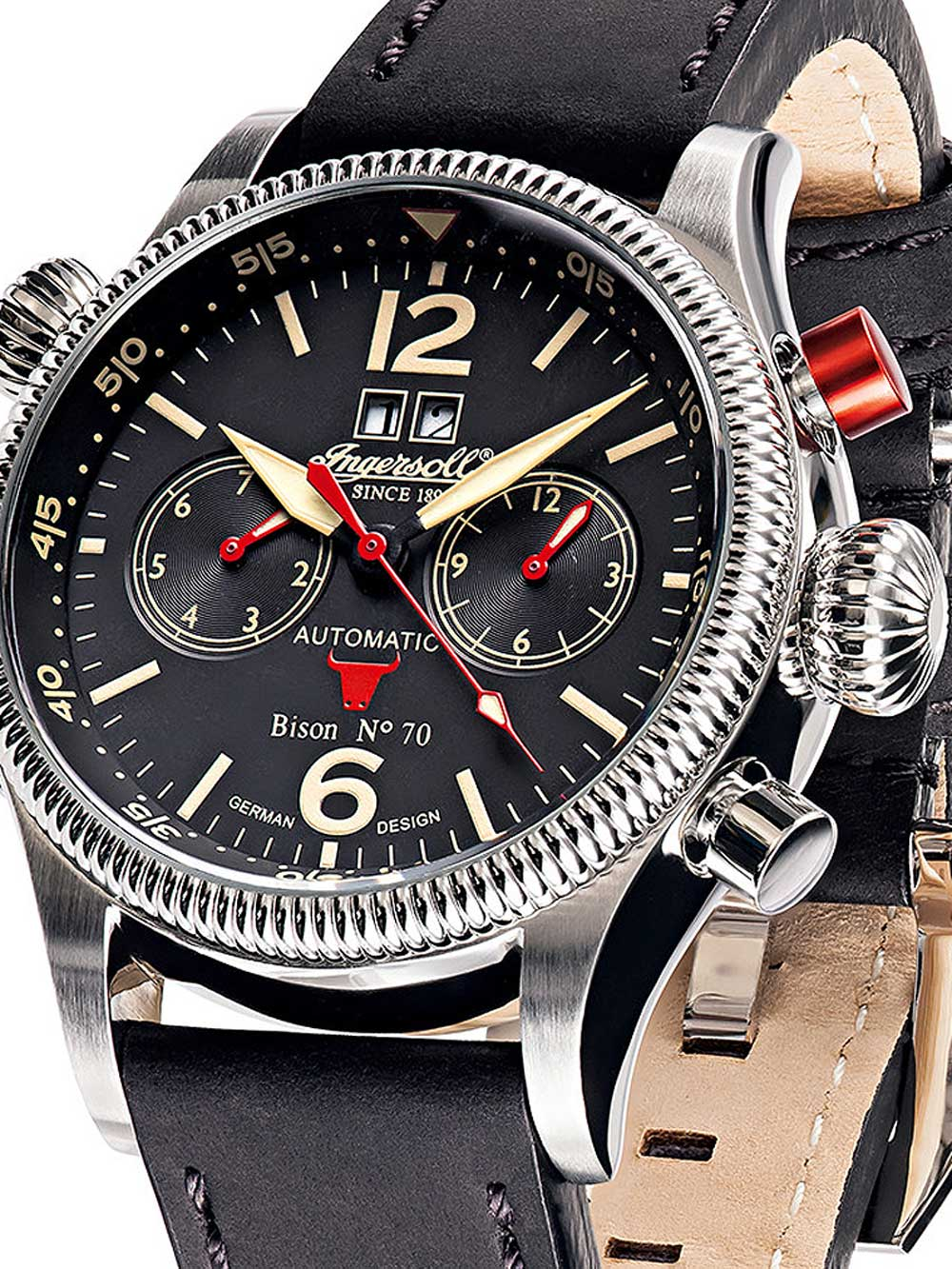 IN3225BK Herren Bison NO.70 Automatik 46mm 5ATM