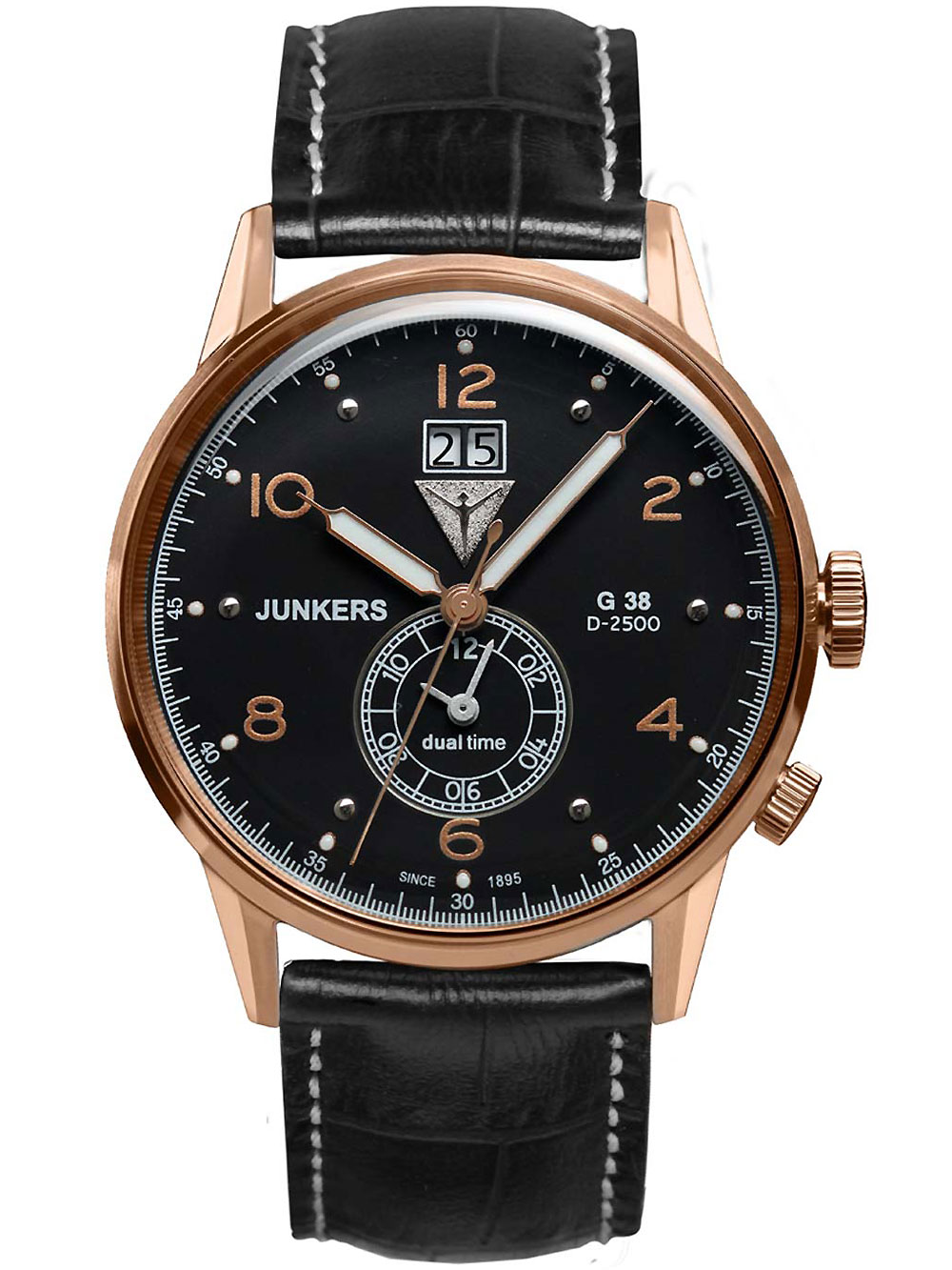 Junkers 6942 5 G38 Dual Time Herrenuhr 42mm 10ATM