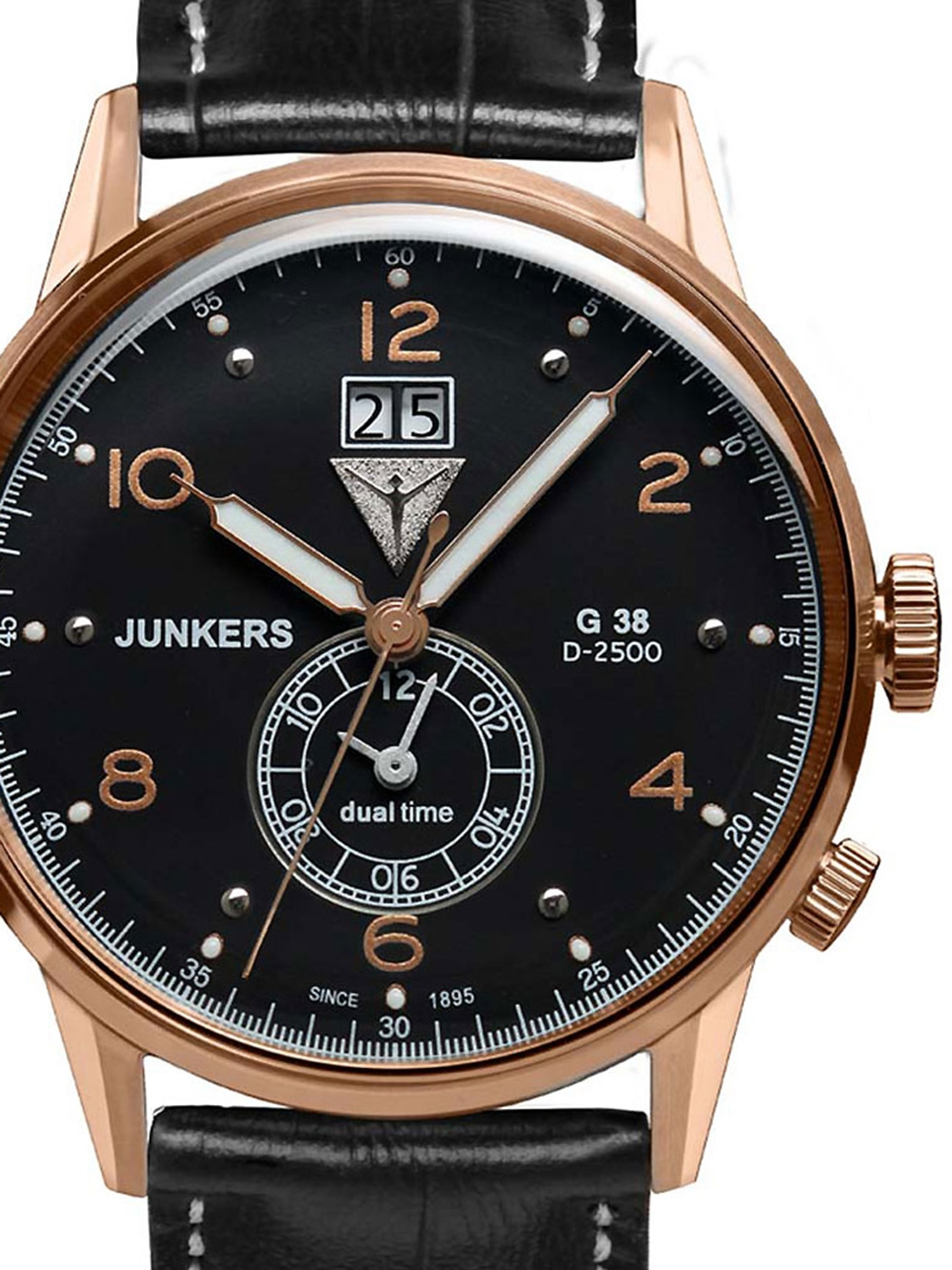 Junkers 6942 5 G38 Dual Time Herrenuhr 42mm 10ATM