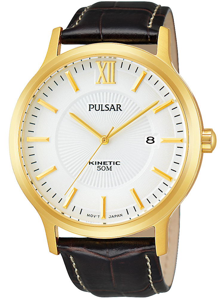Pulsar PAR182X1 Herrenuhr gold braun Kinetic 5 ATM