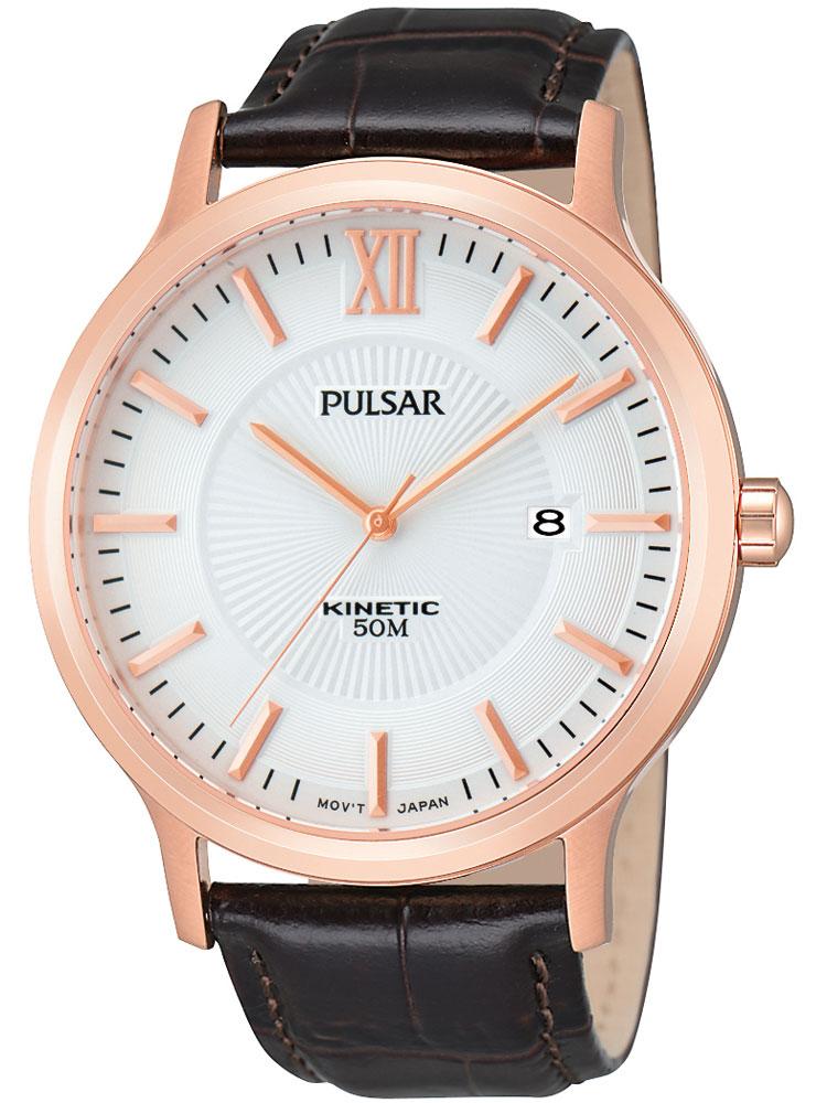 Pulsar PAR184X1 Herrenuhr rosegold braun Kinetic 5 ATM