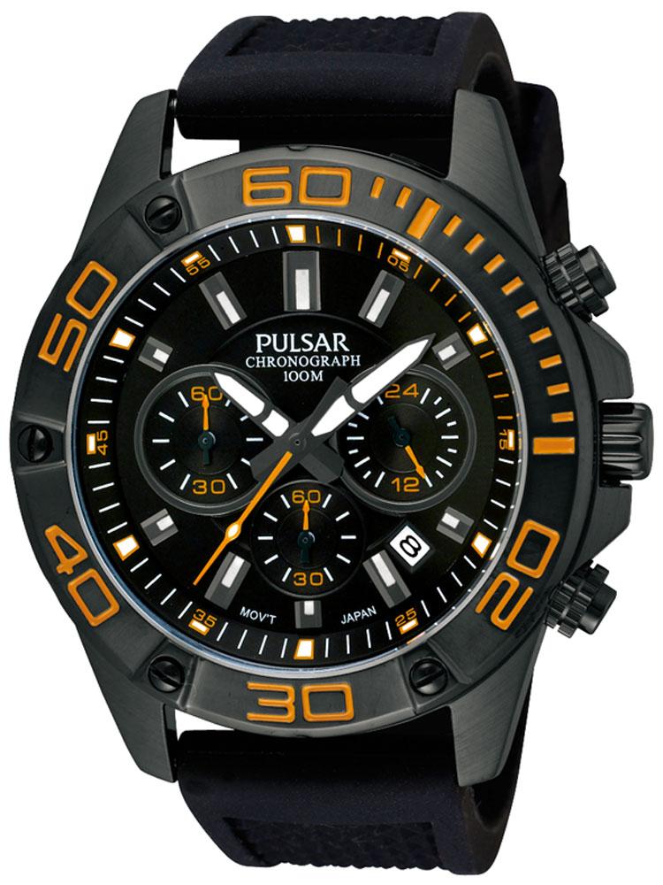 Pulsar PT3313X1 Herrenuhr Chronograph schwarz orange 10 ATM