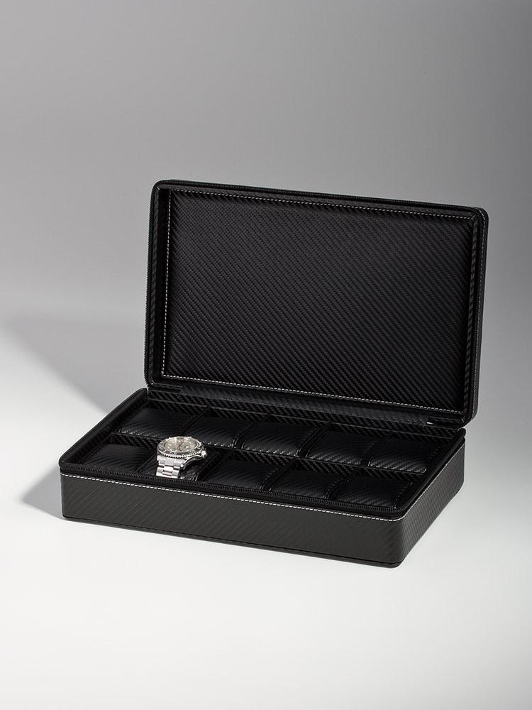 Uhrenkoffer RS-3250-10BL fuer 10 Uhren carbon
